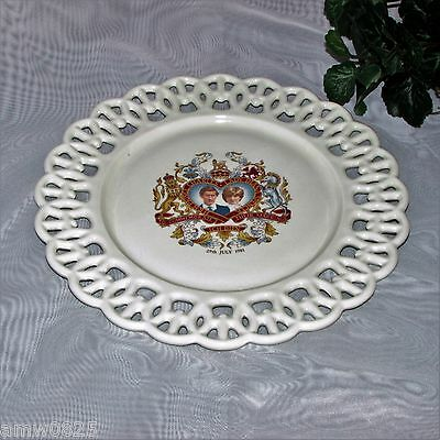 Royal Wedding Collector Plate Charles & Diana 1981 British Royalty Reticulated