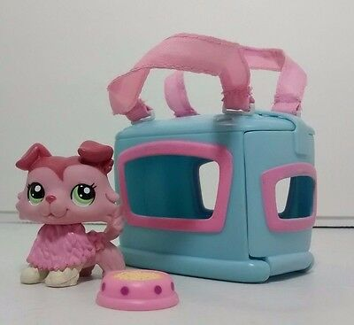 Littlest Pet Shop #1723 Pink Mauve Collie Dog Green Eyes Carry Case Accessories