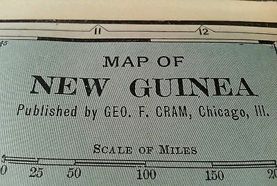 "NEW GUINEA Map 1902 Antique Original Cram's 14.5""x 11"" Vintage Papua MAPZ117"