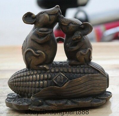 Chinese Bronze Zodiac animal 2 Mouse Rat Corn Wealth Money Coin lucky Statue