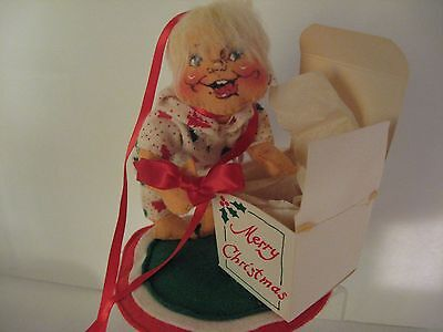 Vintage Annalee Doll Little Girl Opening Package 1957 1983 Annalee Christmas