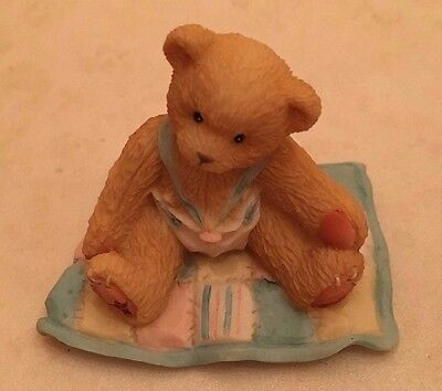 "1997 Cherished Teddies 127922 ""A Gift To Behold"" Baby Boy On Quilt Figurine"