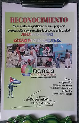 Fidel Castro Autograph signed document from 2002 original Autogramm