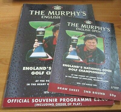 1994 English Open Golf Programme & Order Of Play Card - 15 Golfer's Autographs