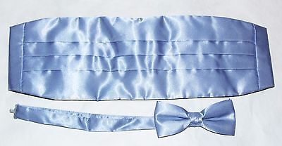 New Powder Blue Satin Cummerbund & Tuxedo Bow Tie