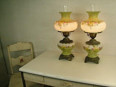 Pair Electric Antique Painted White Flowers Gone With Wind Lamps Oil Hurricane