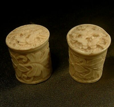 ANTIQUE c1880 2 x CHINESE CARVED SEWING PIN THIMBLE POTS BIRDS & BUTTERFLIES