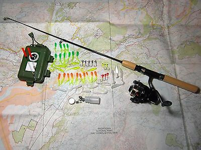 Compact Bushcraft Survival Fishing Kit incl. Rod, Reel & Lures