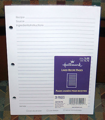 30 Page Hallmark 3-Ring Album Lined Recipe Pages AR1078 Refill NEW FREE SHIPPING