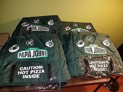 Lot of 4 Microcore Papa Johns Pizza Insulated Hot Delivery Bag Green Bags