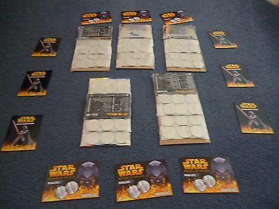 5 Full Sets Of Silver Coloured Medallionzs Coins Star Wars  R.o.t.s