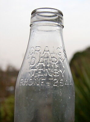 Lovely 1950's Craig of Tenby WALES milk bottle : dairy