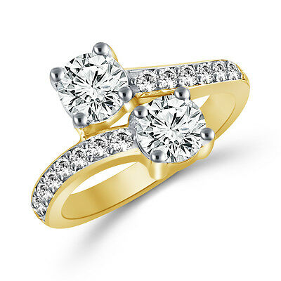 2 Carat Forever Us Two Stone Engagement Diamond Solitaire Ring 14K Yellow Gold