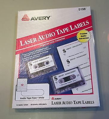Avery Laser Audio Tape Labels #5198 34 Sheets 408 Labels