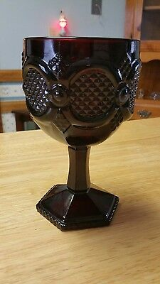 """VINTAGE RED GLASS WATER GOBLET AVON CAPE COD 1876 HEX BASE 6"""" nice"""