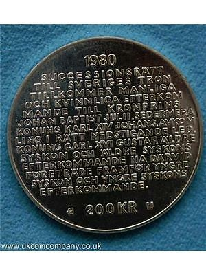 1980 Sweden Silver 200 Kronor Prooflike Coin