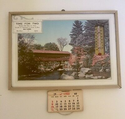 Vintage Calendar Framed Wall Hanging Thermometer Lithograph Meridian Ohio 1960