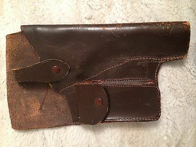 Vintage Brown Leather Hunting Pistol Revolver Right Hand Holster. Military?