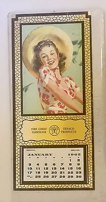 Vintage Lithograph Calendar 1965 Texaco Fire Chief Gasoline Pretty Girl 5 X 11""