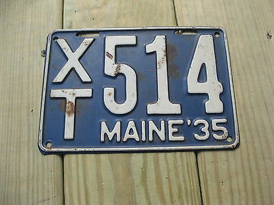 1935 35 Maine Me License Plate # Xt 514 Original Condition