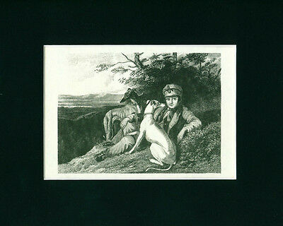 VINTAGE Dog Print Whippet Dogs and Boy comes matted ready to frame