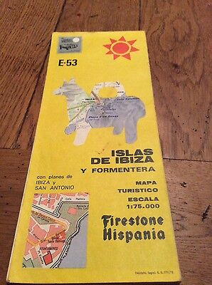 vintage firestone e-53 map of ibiza dated 1981