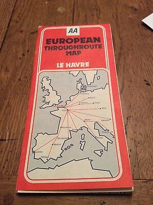 vintage european throughroute map AA dated 1976