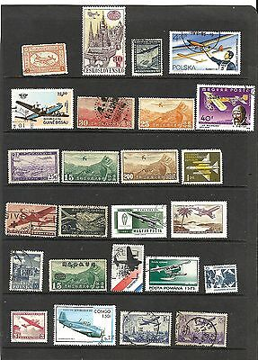 25 different aircraft aeronautical stamps