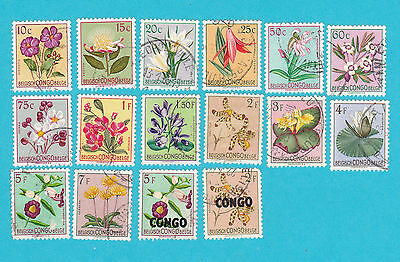 BELGIAN CONGO.FLOWERS USED STAMPS. lot#81