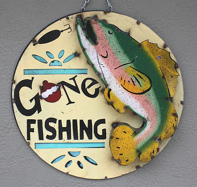 Metal fish sign hunting gone fishing lodge trout man cave for Fishing decor for man cave