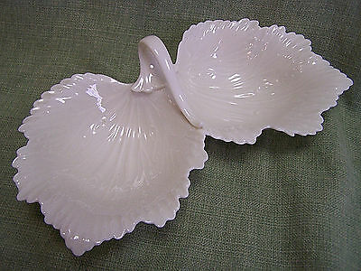 Vintage Lenox Ivory Acanthus Double Leaf Nut /Candy Dish with Handle Green Label