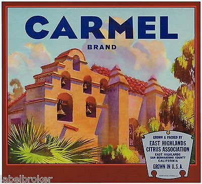 Crate Label Vintage Original Rare Carmel Mission East Highlands San Bernardino