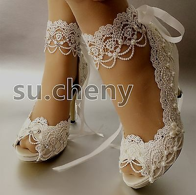 "su.cheny 3"" 4"" heel white ivory satin lace ribbon peep toe Wedding Bridal shoes"