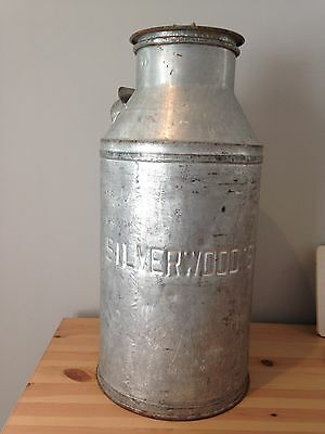 "Small Vintage Silverwood's Milk Dairy Can Primitive Rustic Patina Rusty 19"" X 9"""