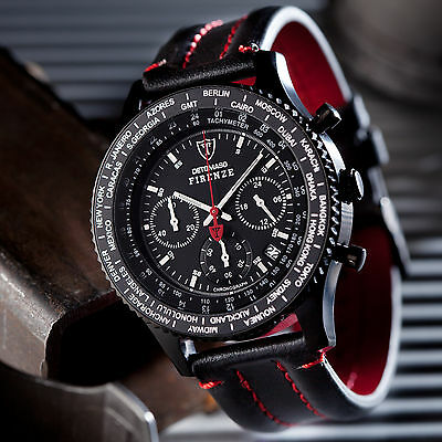 DETOMASO Firenze Mens Sports Watch Chronograph Stainless Steel Black Leather New