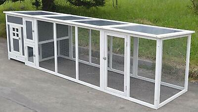 """63"""" Plastic & Wood Chicken Coop Run Cage Backyard Poultry Hen House Bantam Large"""