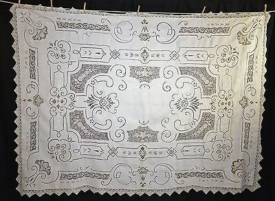 table cloth needle lace insert cut work white 66x89 Victorian antique 1900