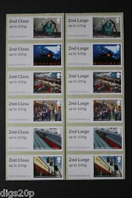 NCR Mail by Rail MA17 - 2nd Class Post & Go Error -  Set of 6x2nd & 6x2nd Large