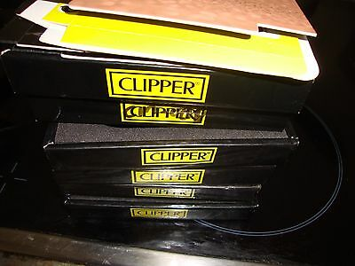 6 Clipper Collector Tray Display Holds 12 Metal Lighter Holder Black + 4 C/board