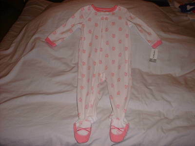 CARTER'S 1 PC White & Pink Ballet Shoes Fleece Footed Footie Pajama Girls 2T NWT