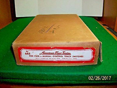 Vintage American Flyer No.665 One Pair Manual Control Track Switches in Box