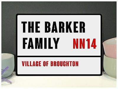 Personalised Family Street Sign, Metal Plaque, Retro Shabby Chic Vintage