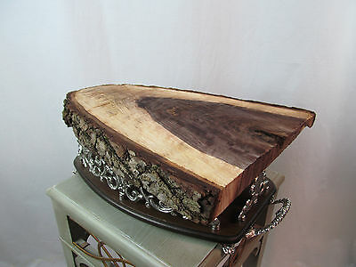 "16"" Live Edge Black Walnut Wood Slice Table Top Shelf Taxidermy Mount Plaque"