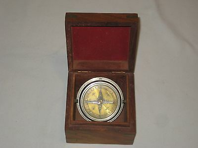 Vintage Metal Gyro Compass Fitted In Fine Wood & Brass  Box Working Collectible