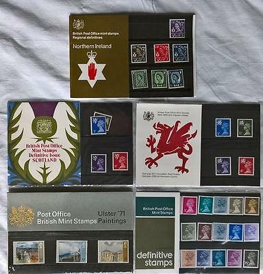 5 GB PRESENTATION PACKS REGIONAL & LOW VALUE DEFINITIVES 25 26A 62 63 129a MNH