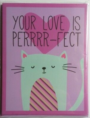 Set of 8 Blank Notecards & Envelopes Valentine's Day Your Love is Perrr-fect Cat