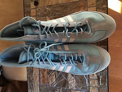 Very Rare Adidas baby blue canvas wrestling shoes size 10.5