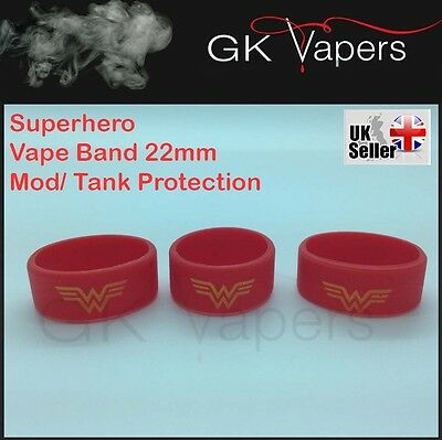 3 x Wonder Woman Vape bands, for your 22mm mod/tank, Will Stretch upto 25mm