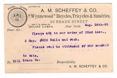 A.M.Scheffey & Co.(Wynnewood Bicycles,Miller Lamps) Postcard (Postmarked 1895)