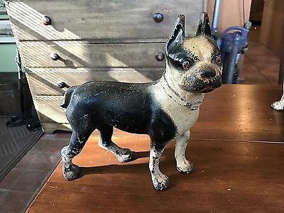 Antique Cast Iron Black & White Boston Terrier Door Stop, Small Size